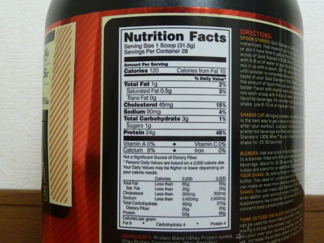 オプチマムゴールドスタンダードケーキドーナッツ味の成分