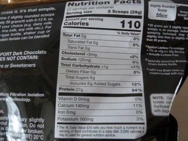 California Gold Nutritionのホエイアイソレート・ダークチョコレート味