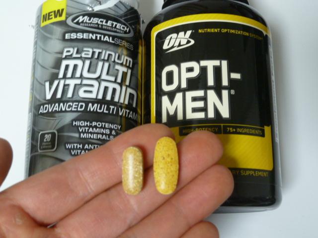 マッスルテックのプラチナムマルチビタミンとオプティメンの比較