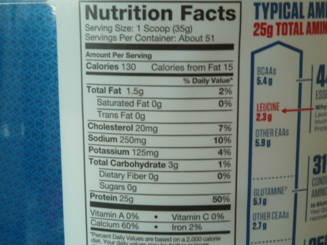 ダイマタイズのエリートカゼインの栄養成分