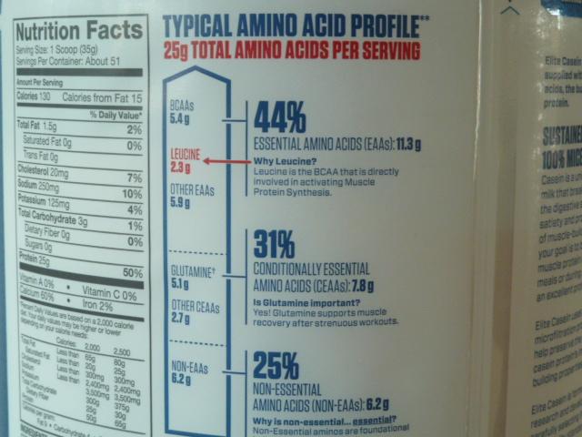 エリートカゼインのBCAA、EAA、非必須アミノ酸の量
