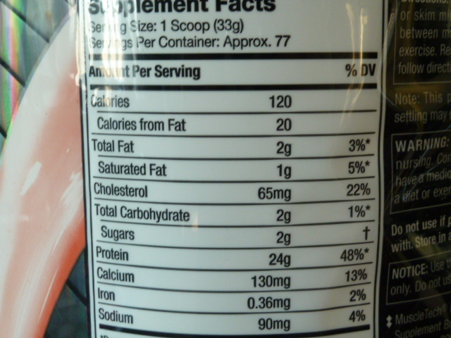 MUSCLETECH100%WHEYGOLD-FACTS