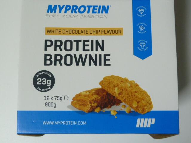 マイプロテインんのプロテインブラウニー「ホワイトチョコレートチップ味」