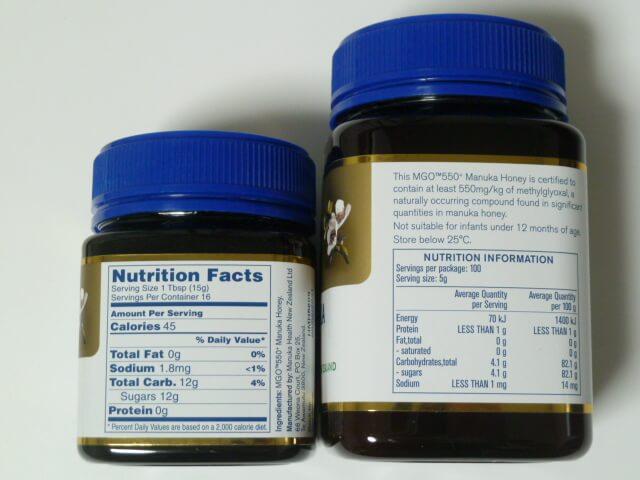 マヌカヘルス社のマヌカハニーの容量、価格、成分